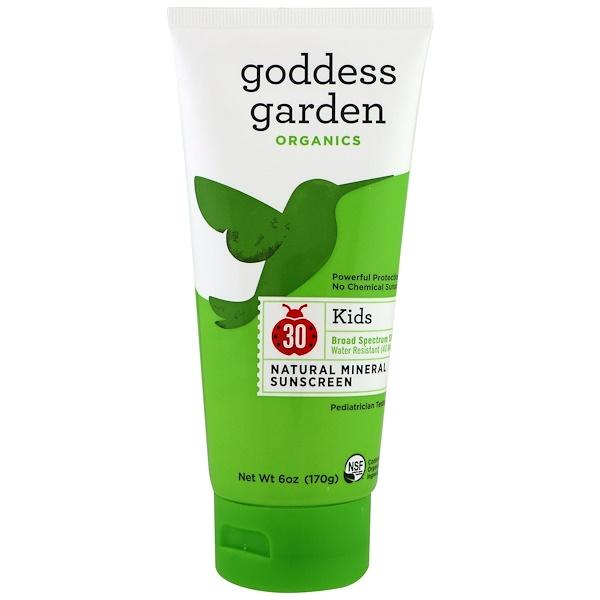 Goddess Garden, Orgánicos, niños, protector solar natural, FPS 30, 6 oz (170 g) (Discontinued Item)