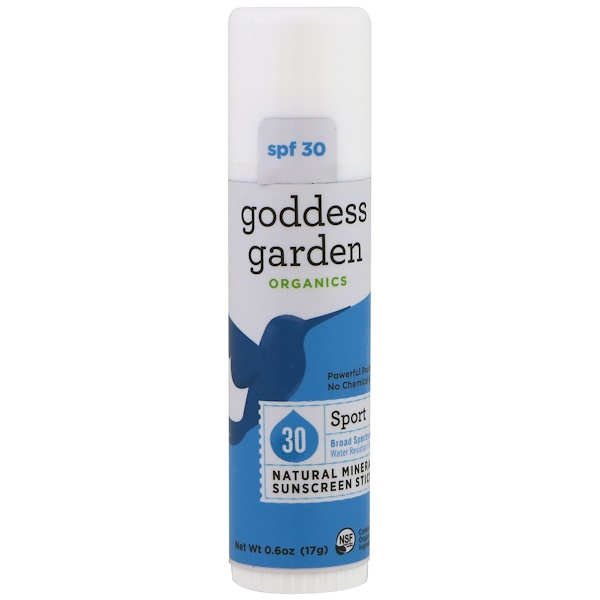 Goddess Garden, Organics, Natural Mineral Sunscreen Stick, Sport, SPF 30, 0.6 oz (17 g) (Discontinued Item)