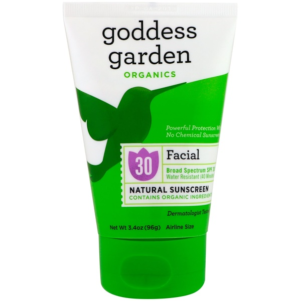Goddess Garden, Organics, Facial, Natural Sunscreen, SPF 30, 3.4 oz (96 g) (Discontinued Item)