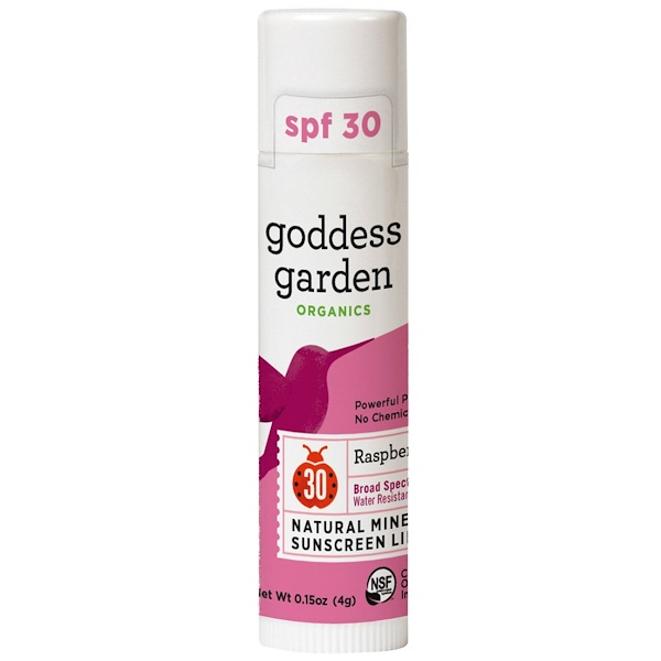 Goddess Garden, Organics, Natural Mineral Sunscreen Lip Balm, SPF 30, Raspberry, 0.15 oz (4 g) (Discontinued Item)