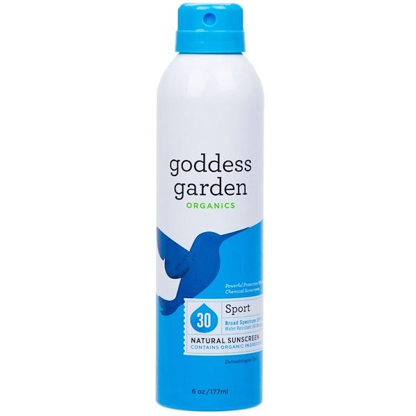 Goddess Garden, Organics, Protector Solar Natural, Deportivo, Spray, SPF 30, 6 oz (177 ml)