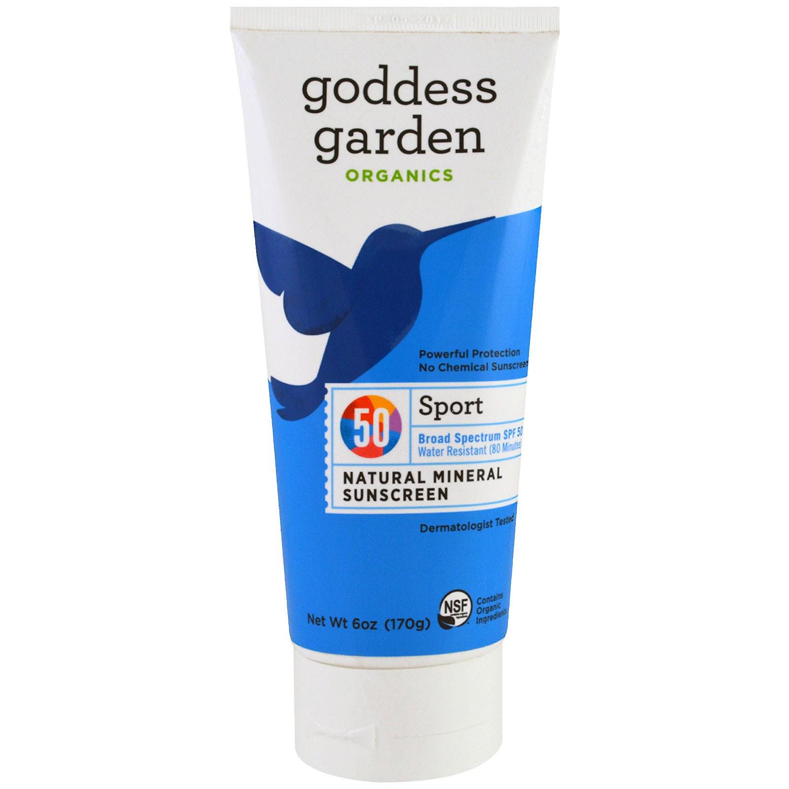 Goddess Garden, Защита от солнца, органический, спортивный, минеральный продукт, SPF 50, 6 унц (170 г)