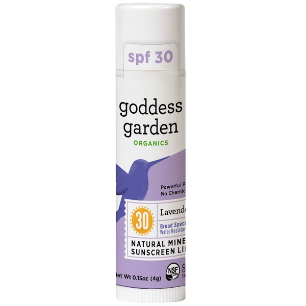Goddess Garden, Organics, Natural Mineral Sunscreen Lip Balm, SPF 30, Lavender Mint, 0.15 oz (4 g)