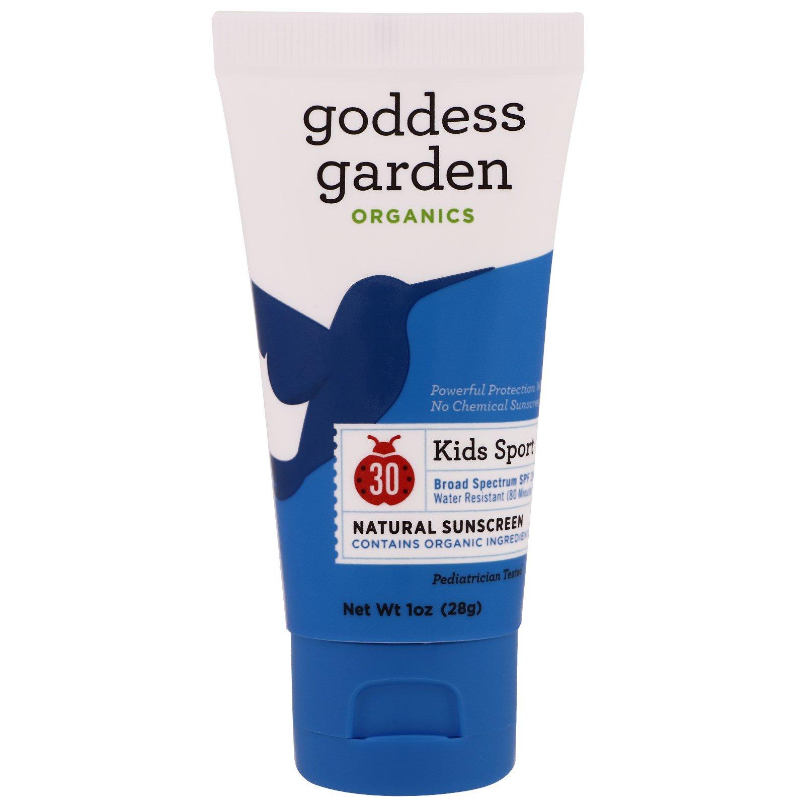 Goddess Garden, Organics, спорт для детей, природный солнцезащитный крем, фактор защиты SPF 30, 1 унция (28 г)