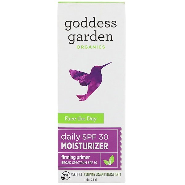 Goddess Garden, Orgánico, Face the Day, Crema hidratante diaria, Tapaporos reafirmante, FPS 30, 1 fl. Oz (30 ml) (Discontinued Item)
