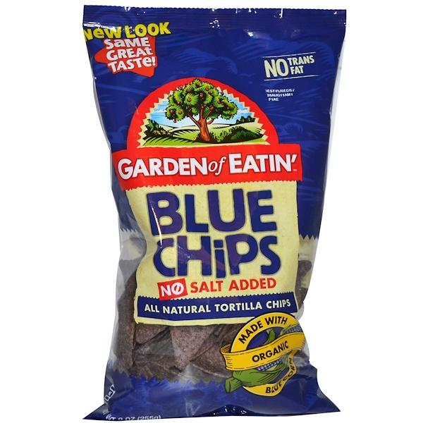 Garden of Eatin', All Natural Tortilla Chips, Blue Chips, No Salt Added, 9 oz (255 g) (Discontinued Item)