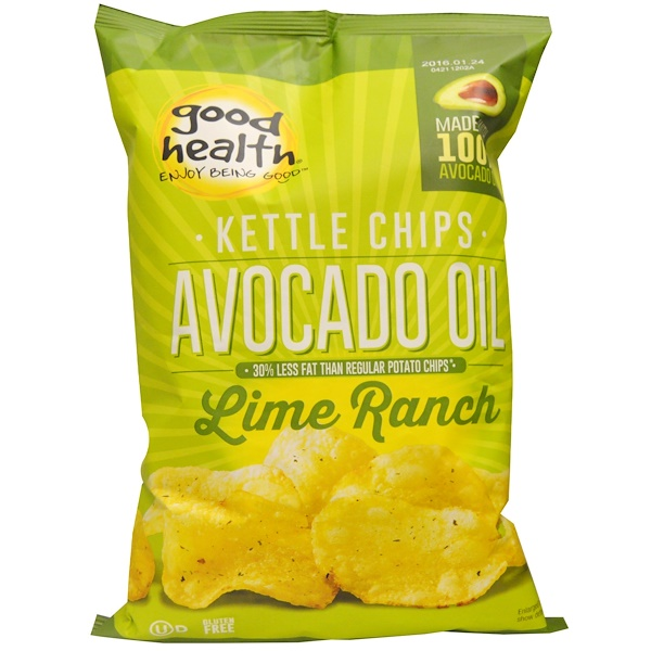 Good Health Natural Foods, Kettle Chips, Avocado Oil, Lime Ranch, 5 oz (141、7 g)
