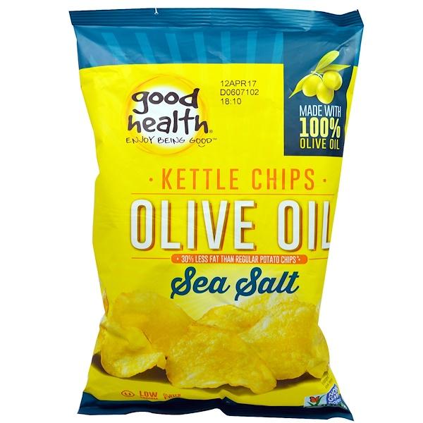Good Health Natural Foods, Kettle Style Chips, Olive Oil, Sea Salt, 5 oz (141.7 g)