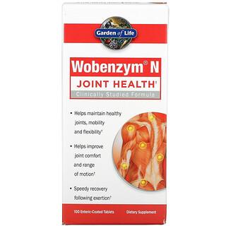 Garden of Life, Wobenzym N, средство для здоровья суставов, 100таблеток, покрытых кишечнорастворимой оболочкой