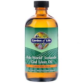 Garden of Life, Aceite de Hígado de Bacalao Islandés Olde World, Sabor a Menta y Limón, 8 fl oz (236 ml)