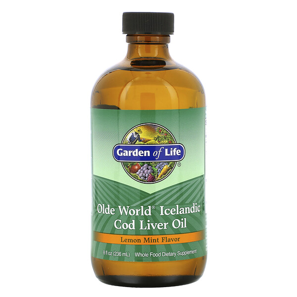 Olde World Icelandic Cod Liver Oil, Lemon Mint Flavor, 8 fl oz (236 ml)