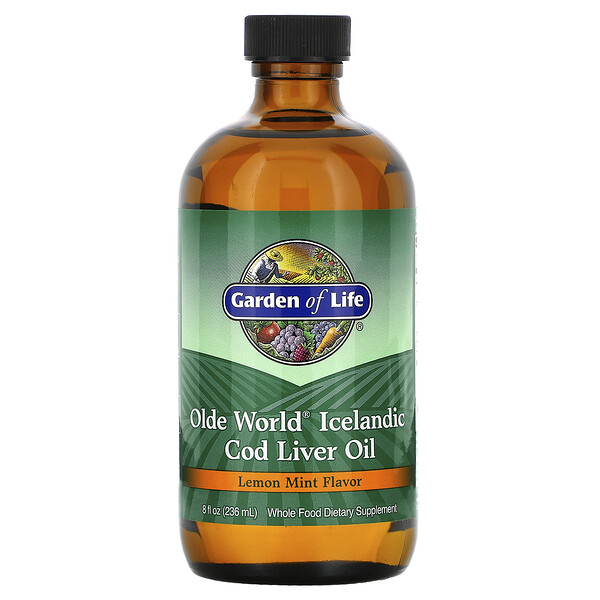 Olde World Icelandic Cod Liver Oil, Lemon Mint, 8 fl oz (236 ml)