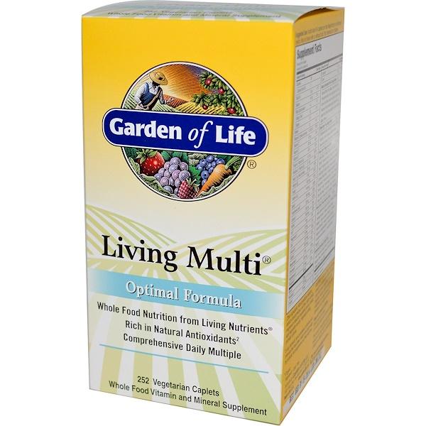 Garden of Life, Living Multi, Optimal Formula, 252 Veggie Caplets (Discontinued Item)