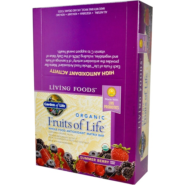 Garden of Life, Organic, Fruits of Life, Whole Food Antioxidant Matrix Bar, Summer Berry, 12  Bars, 2.25 oz (64 g) Each (Discontinued Item)