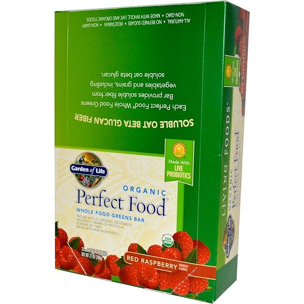 Garden of Life, Organic, Perfect Food, Whole Food Greens Bar, Red Raspberry, 12 Bars, 2.25 oz (64 g) Each (Discontinued Item)