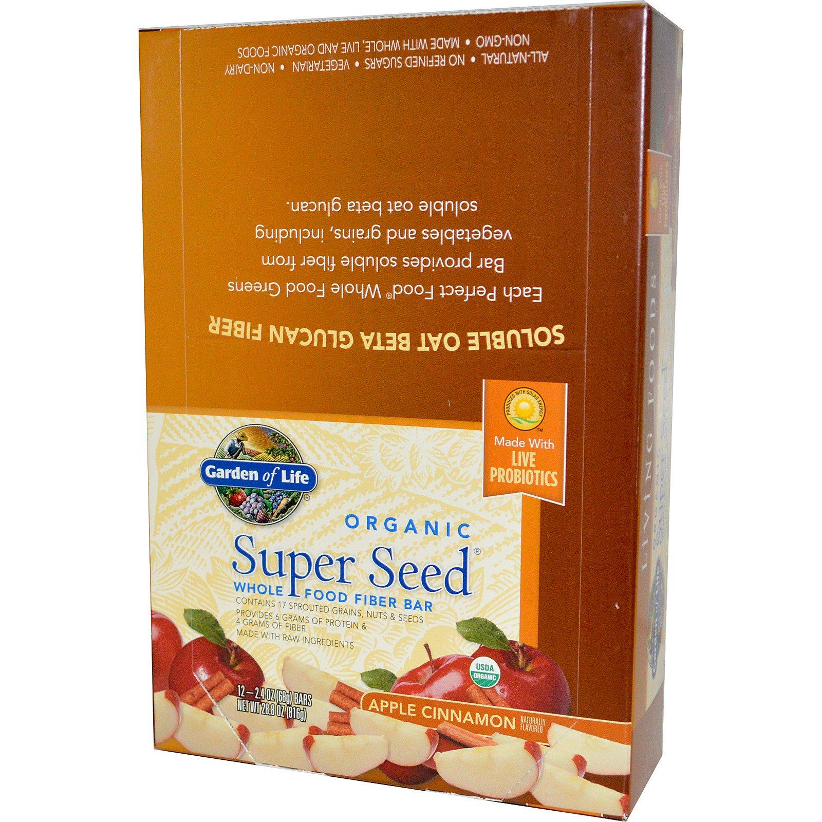 4418cb046fa Garden of Life, Organic, Super Seed, Whole Food Fiber Bar, Apple Cinnamon,  12 Bars, 2.4 oz (68 g) (Discontinued Item)