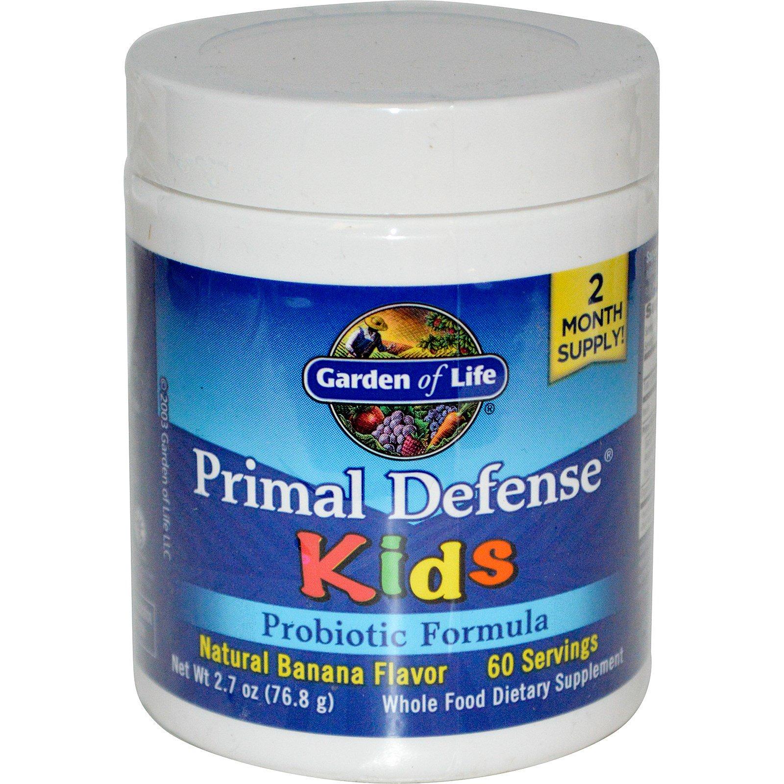 Garden of Life, Для детей, основная зищита, пробиотическая формула, природный банановый ароматизатор, 2,7 унции (76,8 г)