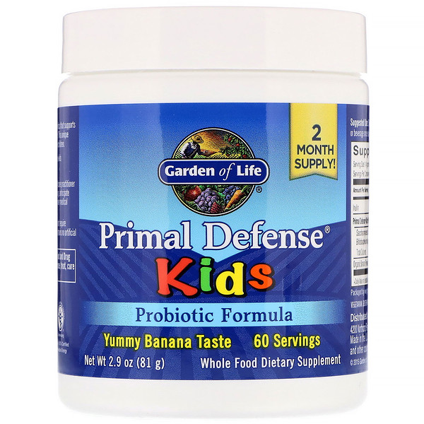 Garden of Life, Kids, Primal Defense, Probiotic Formula, Natural Banana Flavor, 2.9 oz (81 g)