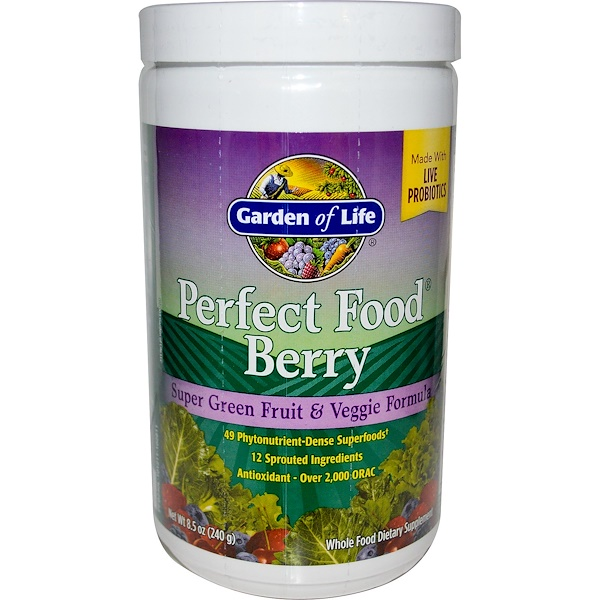 Garden of Life, Perfect Food Berry, Super Green Fruit & Veggie Formula, 8.5 oz (240 g) (Discontinued Item)