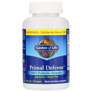 Garden of Life, Primal Defense, пробиотическая формула с HSO, 216 капсуловидных таблеток
