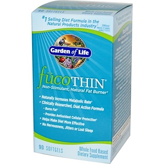 Garden of Life, FucoThin, Non-Stimulant, Natural Fat Burner, 90 Softgels