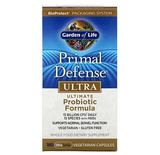 Garden of Life, Primal Defense(プライマルディフェンス)、ウルトラ、優れたプロバイオティクス*成分、UltraZorbe(ウルトラゾルベ)ベジカプセル180粒 ※生きたまま腸に到達できる菌株のこと