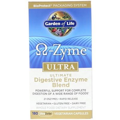 Купить Ω-Zyme, Ultra, Комплекс пищеварительных ферментов, 180 вегетарианских капсул UltraZorbe