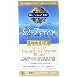 Garden of Life, Ω-Zyme, Ultra, Комплекс пищеварительных ферментов, 180 вегетарианских капсул UltraZorbe