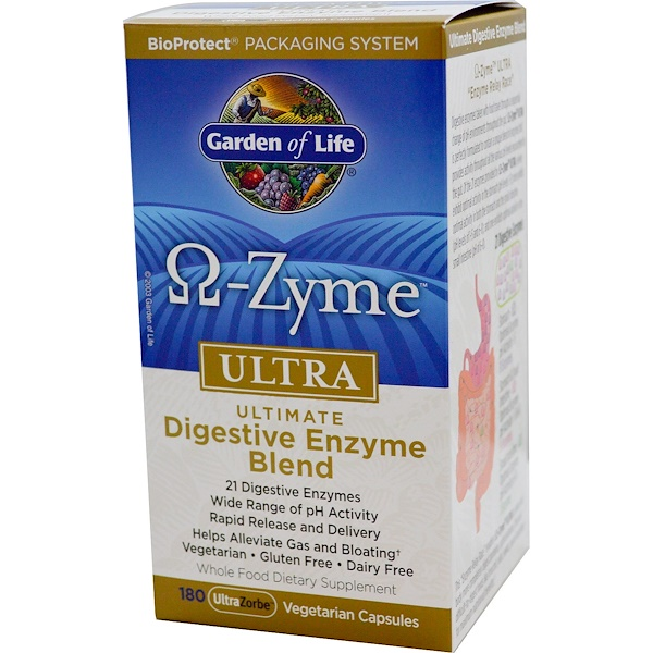 Garden of Life, O-Zyme, Ultra, Ultimate Digestive Enzyme Blend, 180 UltraZorbe Vegetarian Capsules