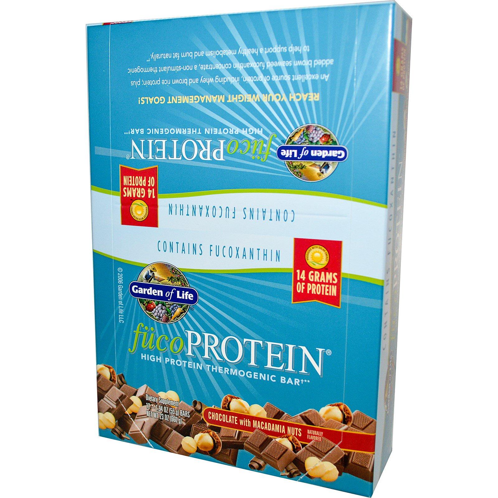 Garden of Life, ФукоПротеин, термогенный батончик с высоким содержанием белка, шоколад с макадамией, 12 батончиков, 55 г каждый