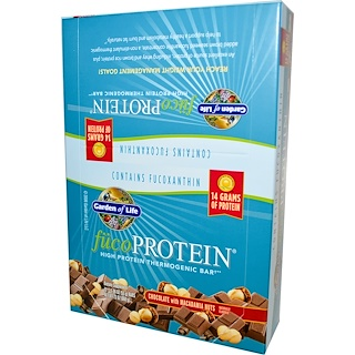 Garden of Life, FucoProtein, High Protein Thermogenic Bar, Chocolate with Macadamia Nuts, 12 Bars, 1.94 oz (55 g) Each