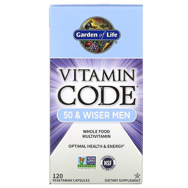 Garden of Life, Vitamin Code, 50 & Wiser Men, Whole Food Multivitamin, 120 Vegetarian Capsules