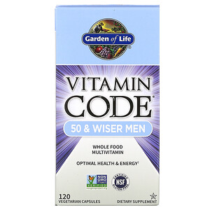 Гарден оф Лайф, Vitamin Code, 50 & Wiser Men, Whole Food Multivitamin, 120 Vegetarian Capsules отзывы