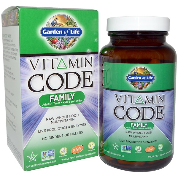 Garden of Life, Vitamin Code Family, 120 вегетарианских капсул
