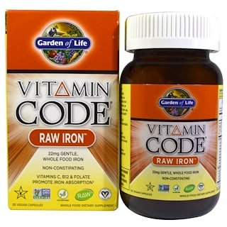 Garden of Life, Vitamin Code, RAW Iron, 30 веганских капсул