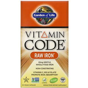 Гарден оф Лайф, Vitamin Code, RAW Iron, 30 Vegan Capsules отзывы покупателей