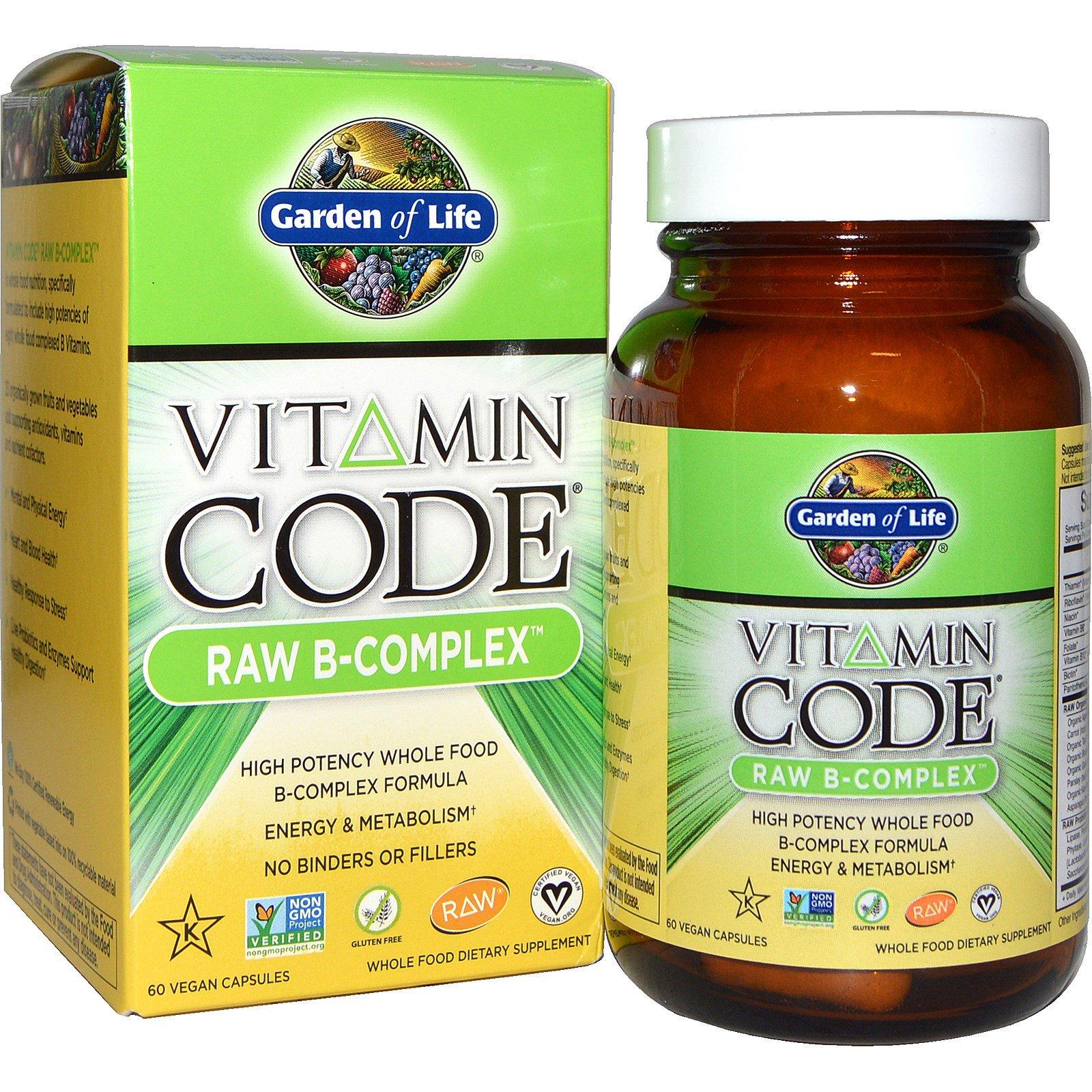 Garden of Life, Витаминный код, сырой B-комплекс, 60 веганских капсул