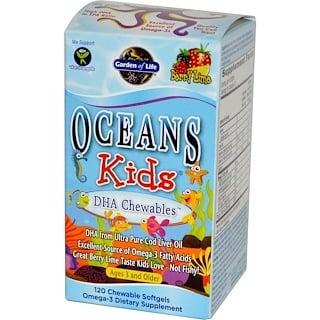 Garden of Life, Oceans für Kinder, kaubares DHA, ab 3 Jahren, Beeren/Limone, 120 kaubare weiche Gelkapseln