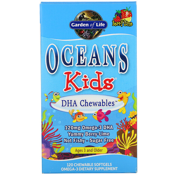 Garden of Life, Oceans Kids, DHA Chewables, Age 3 and Older, Berry Lime, 120 mg, 120 Chewable Softgels