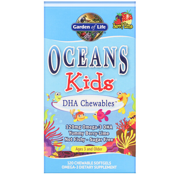 Oceans Kids, DHA Chewables, Age 3 and Older, Berry Lime, 120 Chewable Softgels