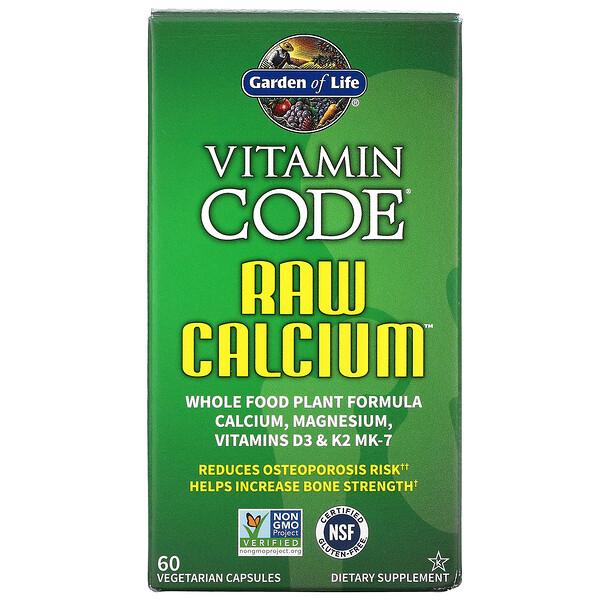 Garden of Life, 비타민코드, RAW Calcium, 60 Vegetarian Capsules