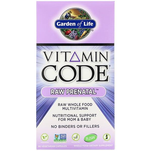 Garden of Life, Vitamin Code, Raw Prenatal, 90 식물성 캡슐