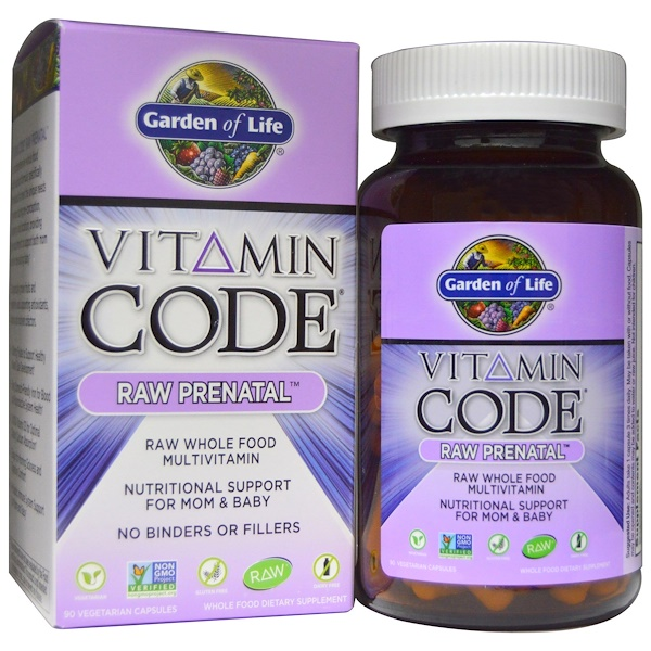 Garden of Life, Vitamin Code, Raw Prenatal, 90 вегетарианских капсул