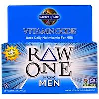 Код витамина, Ряд первый, один раз в день Raw поливитамины для мужчин, 75 Veggie Caps - фото