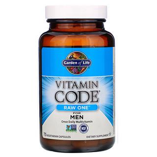 Garden of Life, Vitamin Code, RAW One, мультивитаминная добавка для мужчин (для приема 1раз в день), 75вегетарианских капсул