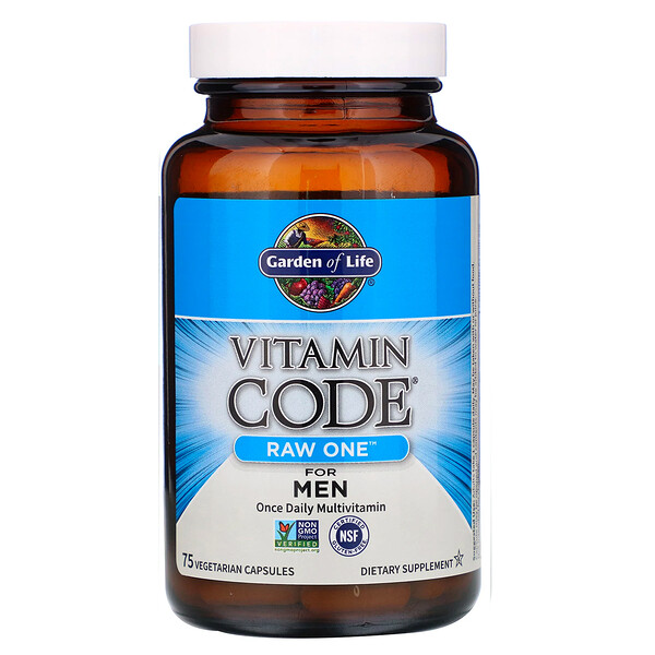 Garden of Life, Vitamin Code, RAW One, Once Daily Multivitamin For Men, 75 Vegetarian Capsules