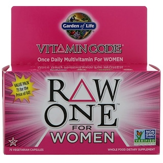 Garden of Life, Vitamin Code, Raw One, Once Daily Multi-Vitamin for Women, 75 Vegetarian Capsules