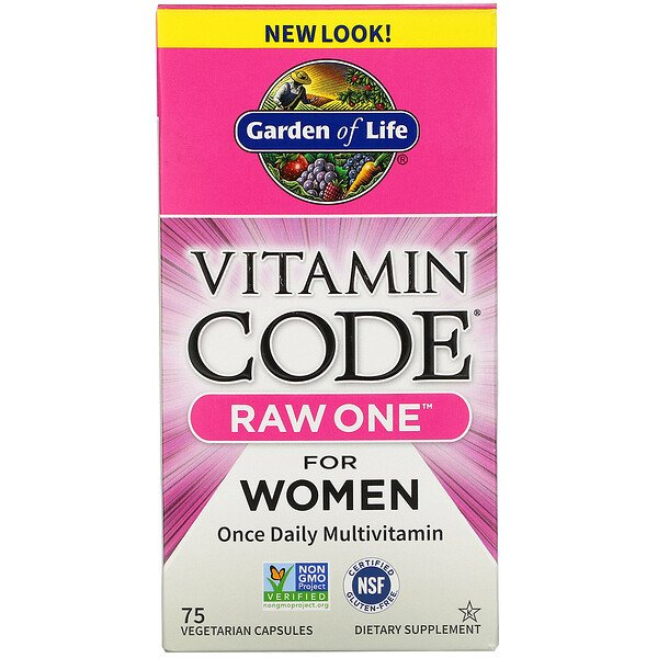 Vitamin Code, RAW One, Once Daily Multivitamin for Women, 75 Vegetarian Capsules
