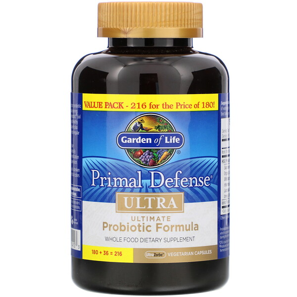 Garden of Life, Primal Defense, Ultra, Ultimate Probiotic Formula, 216 UltraZorbe Vegetarian Capsules