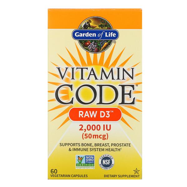 Vitamin Code, RAW D3, 50 mcg (2,000 IU), 60 Vegetarian Capsules